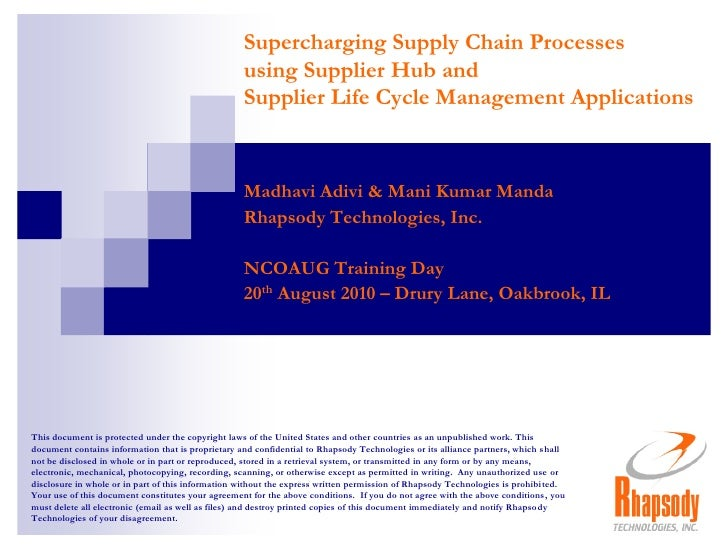 [NCOAUG] Supercharging Supply Chain Processes with Supplier Life Cycle Management (SLM) and Supplier Data Hub (SDH)