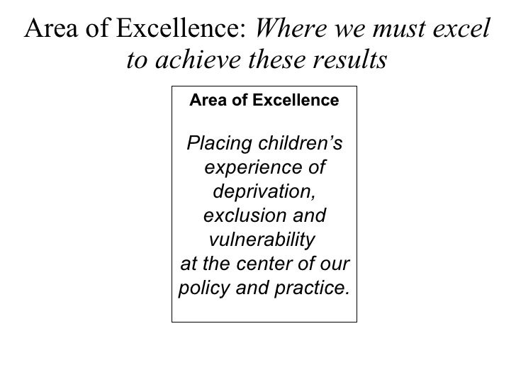 Area of Excellence:  Where we must excel to achieve these results Area of Excellence Placing children's experience of depr...