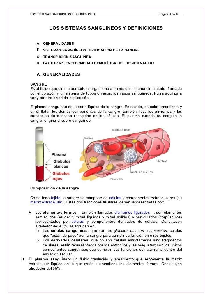 LOS SISTEMAS SANGUINEOS Y DEFINICIONES                                      Página 1 de 16                    LOS SISTEMAS...