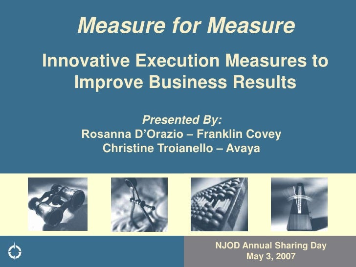 Measure for Measure Innovative Execution Measures to     Improve Business Results                Presented By:     Rosanna...
