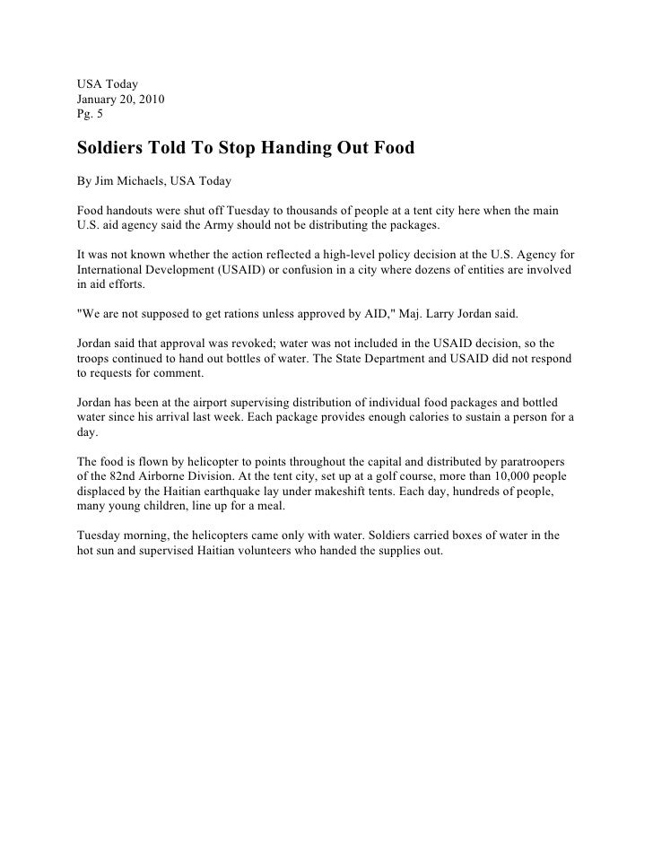 USA Today January 20, 2010 Pg. 5  Soldiers Told To Stop Handing Out Food By Jim Michaels, USA Today  Food handouts were sh...