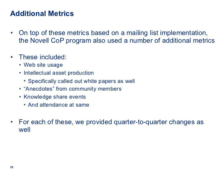 Additional Metrics <ul><li>On top of these metrics based on a mailing list implementation, the Novell CoP program also use...
