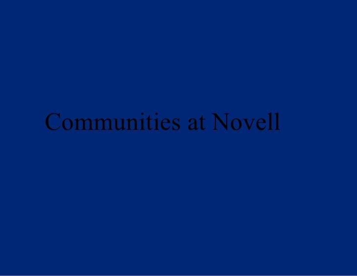 Communities at Novell