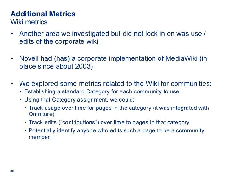 Additional Metrics Wiki metrics <ul><li>Another area we investigated but did not lock in on was use / edits of the corpora...