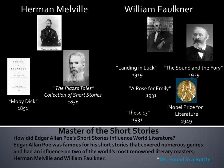 """a comparison of the cask of amontillado by edgar allan poe and a rose for emily by faulkner A rose for emily and a cask of amontillado 2 in the short story """"a rose for emily,"""" by william faulkner (79-84), emily grierson has no concept of time she is living in the past and refuses to accept the death of her father."""
