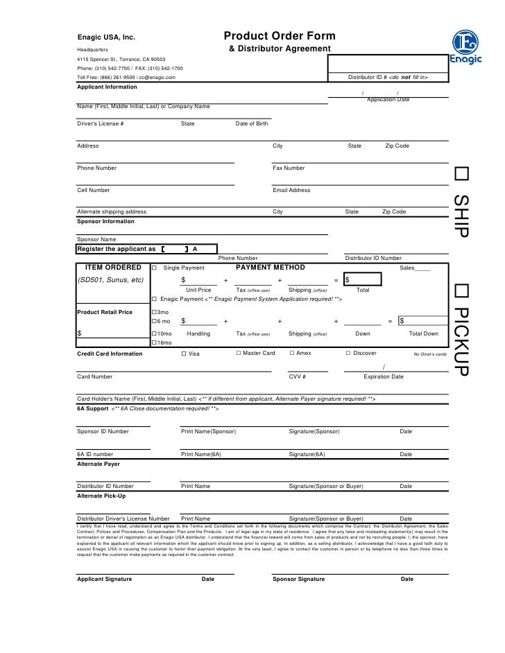 terms and conditions template usa - order distributor form