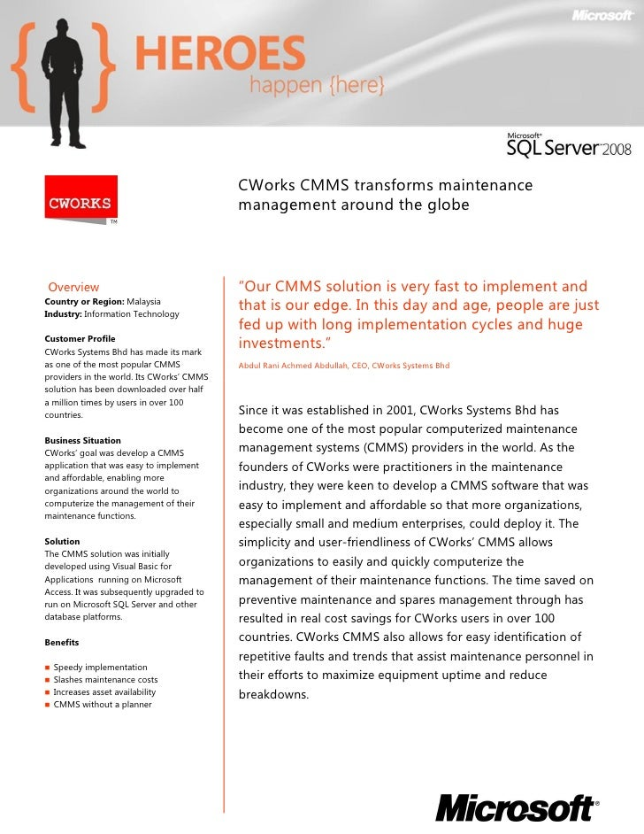 CWorks CMMS transforms maintenance                                            management around the globe    Overview     ...