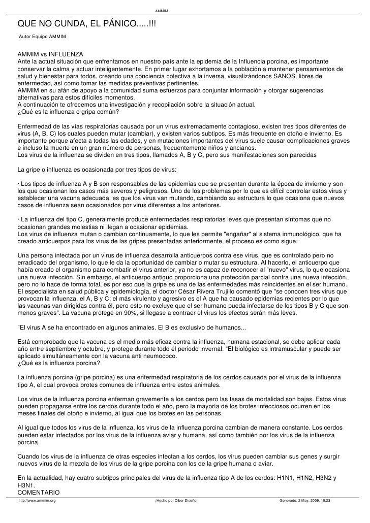 AMMIM   QUE NO CUNDA, EL PÁNICO.....!!! Autor Equipo AMMIM   AMMIM vs INFLUENZA Ante la actual situación que enfrentamos e...