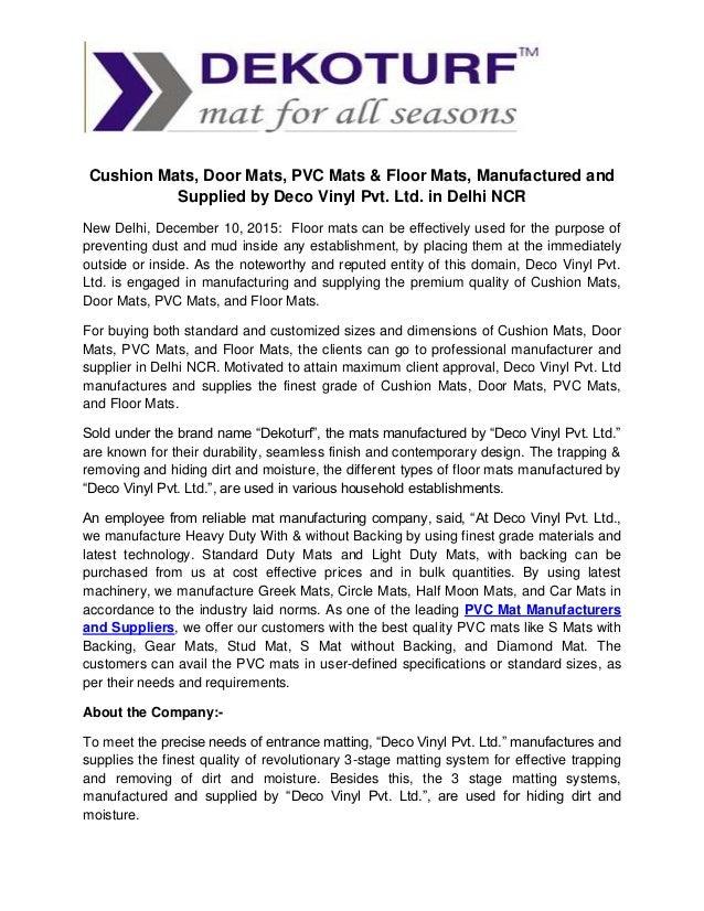 Cushion Mats, Door Mats, PVC Mats & Floor Mats, Manufactured and Supplied by Deco Vinyl Pvt. Ltd. in Delhi NCR New Delhi, ...