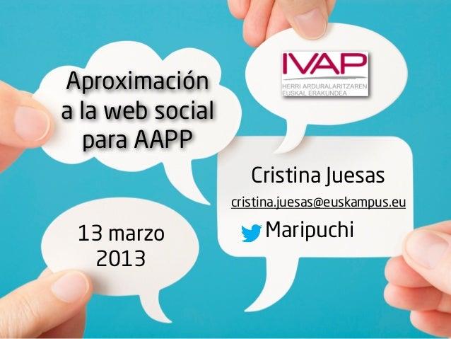 Aproximacióna la web social  para AAPP                     Cristina Juesas                  cristina.juesas@euskampus.eu 1...