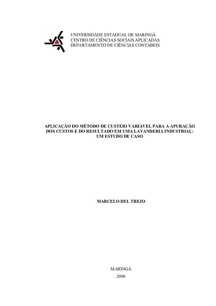 UNIVERSIDADE ESTADUAL DE MARINGÁ          CENTRO DE CIÊNCIAS SOCIAIS APLICADAS          DEPARTAMENTO DE CIÊNCIAS CONTÁBEIS...
