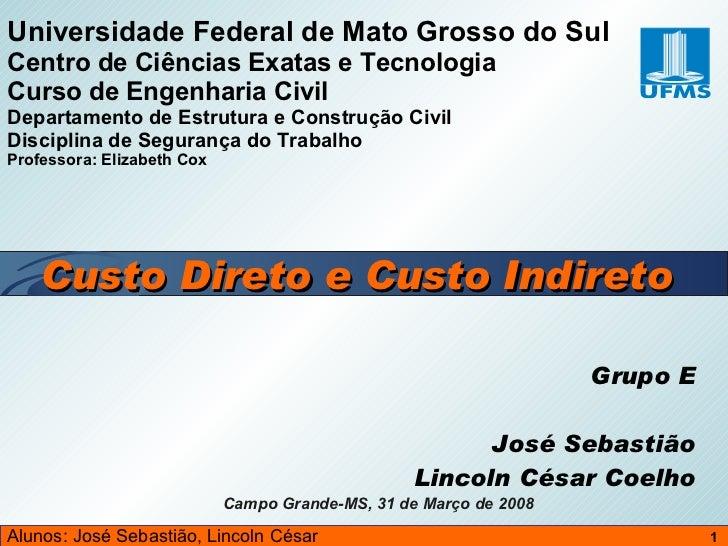 Grupo E José Sebastião Lincoln César Coelho Universidade Federal de Mato Grosso do Sul Centro de Ciências Exatas e Tecnolo...