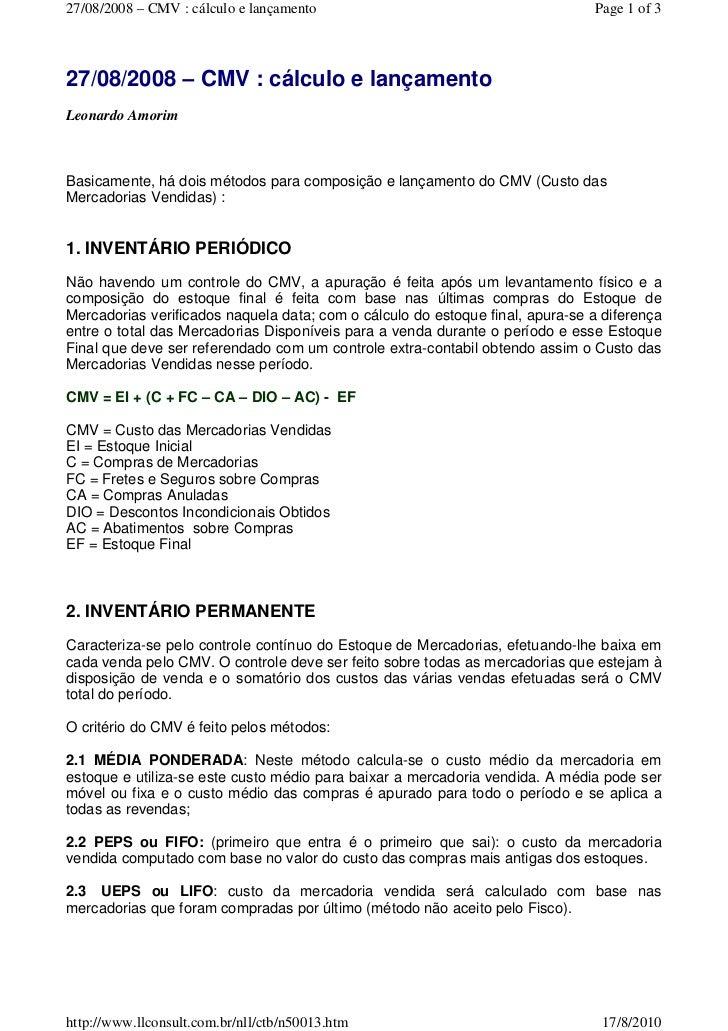 27/08/2008 – CMV : cálculo e lançamento                                        Page 1 of 3    27/08/2008 – CMV : cálculo e...