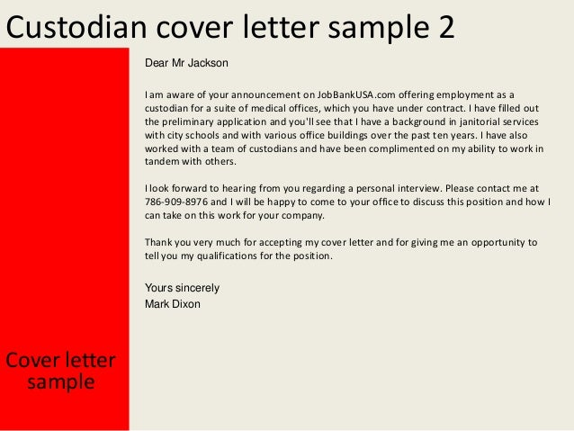 custodian cover letter samples