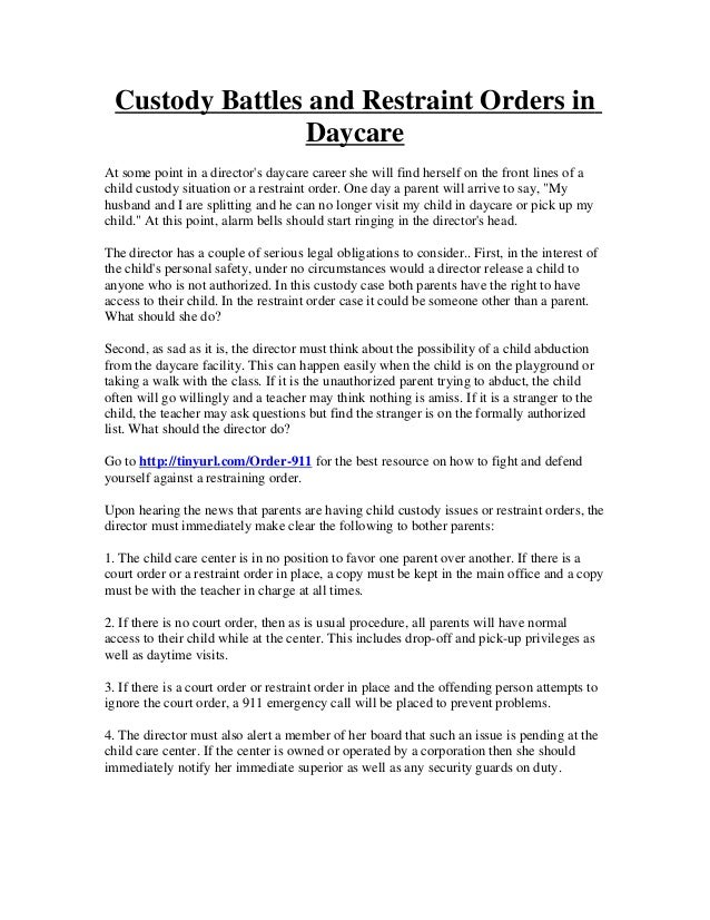 Custody Battles And Restraint Orders In Daycare