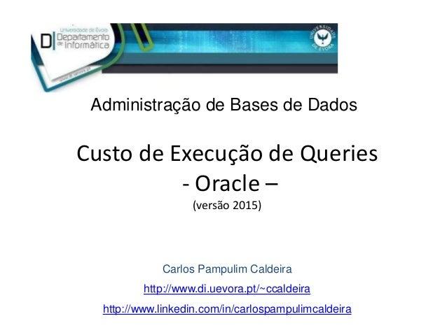 Custo de Execução de Queries - Oracle – (versão 2015) Carlos Pampulim Caldeira http://www.di.uevora.pt/~ccaldeira http://w...
