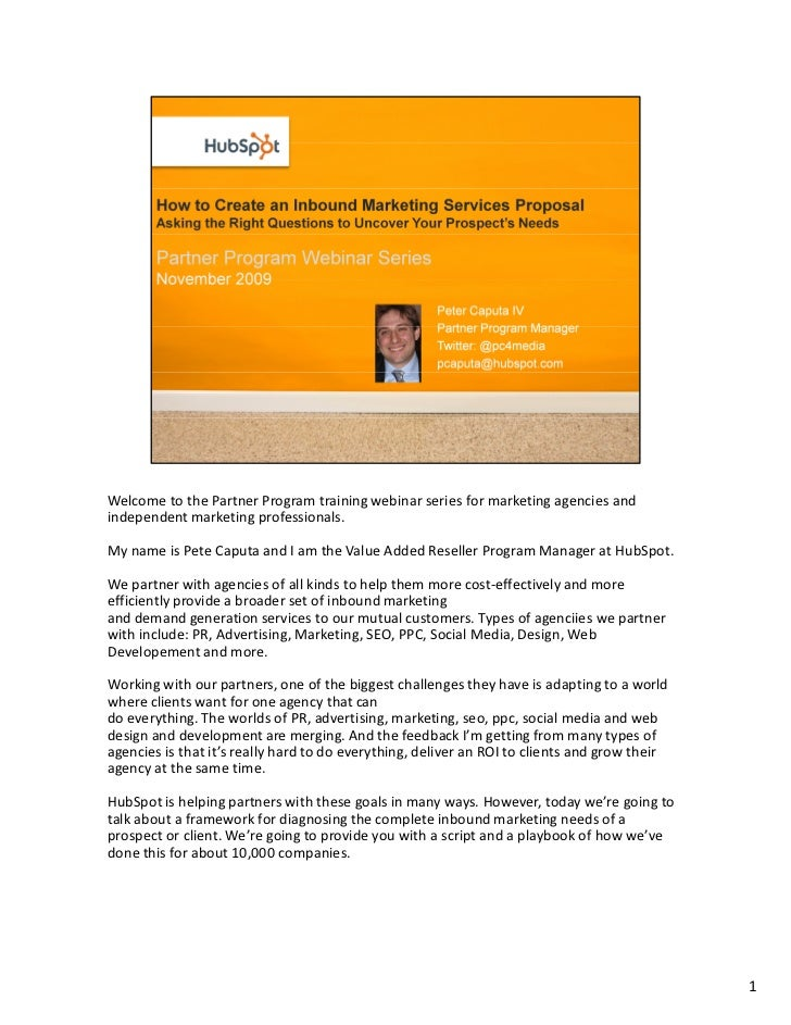 Welcome to the Partner Program training webinar series for marketing agencies and independent marketing professionals.  My...