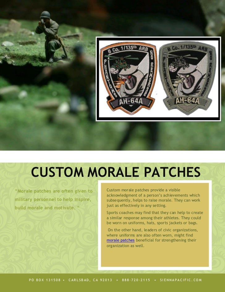 "CUSTOM MORALE PATCHES""Morale patches are often given to     Custom morale patches provide a visible                       ..."
