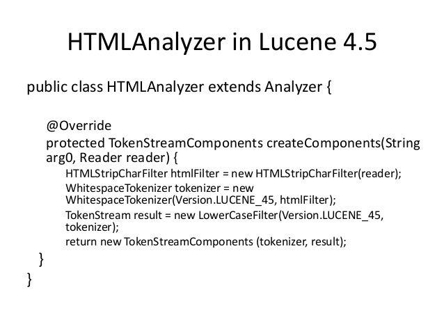 custom analyzer using lucene