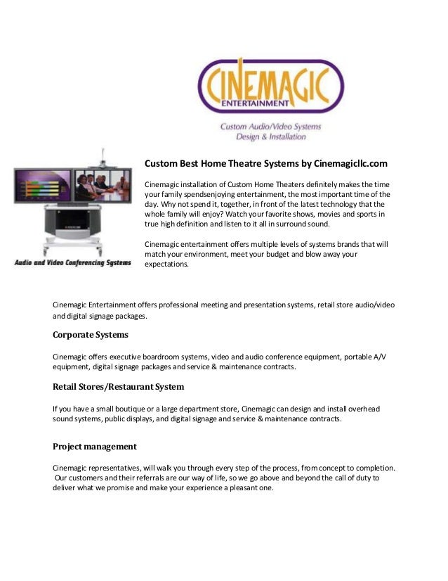 Custom Best Home Theatre Systems by Cinemagicllc.com Cinemagic installation of Custom Home Theaters definitely makes the t...