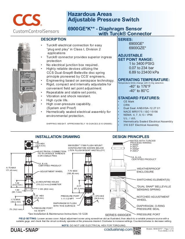 Hazardous Areas Adjustable Pressure Switch 6900GE*K** - Diaphragm Sensor with Turck® Connector DESCRIPTION •	 Turck® elect...
