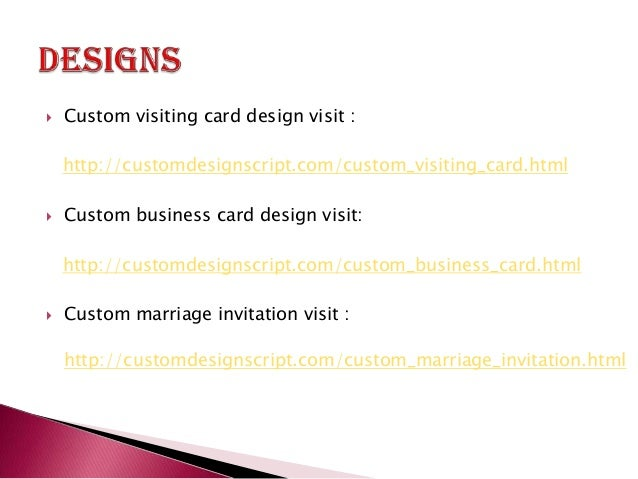 Custom design script php custom design script ready made custom d 3 custom visiting card design reheart Image collections