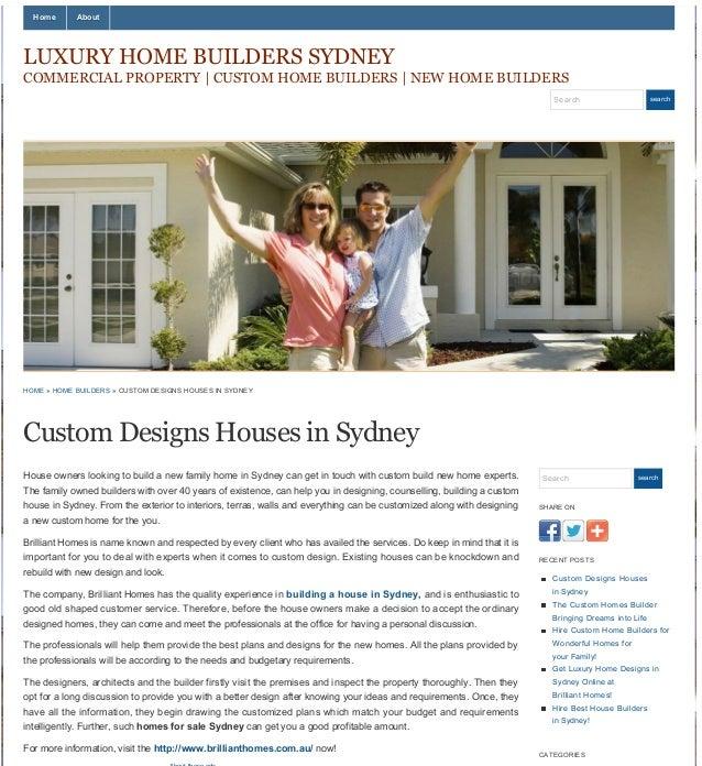 Custom designs houses in sydney