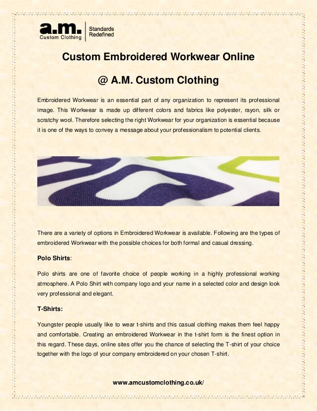 Custom embroidered workwear online @ a m  custom clothing