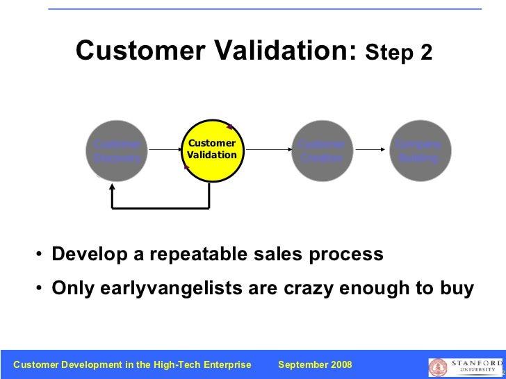 Customer Validation:  Step 2 Customer Discovery Customer Validation Customer Creation Company Building <ul><li>Develop a r...
