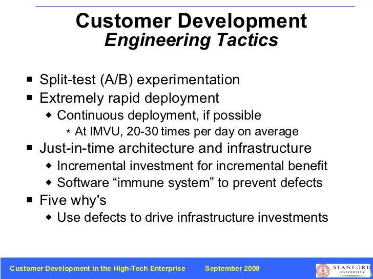 <ul><li>Split-test (A/B) experimentation </li></ul><ul><li>Extremely rapid deployment </li></ul><ul><ul><li>Continuous dep...