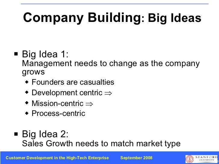 Company Building :  Big Ideas <ul><li>Big Idea 1:   Management needs to change as the company grows </li></ul><ul><ul><li>...