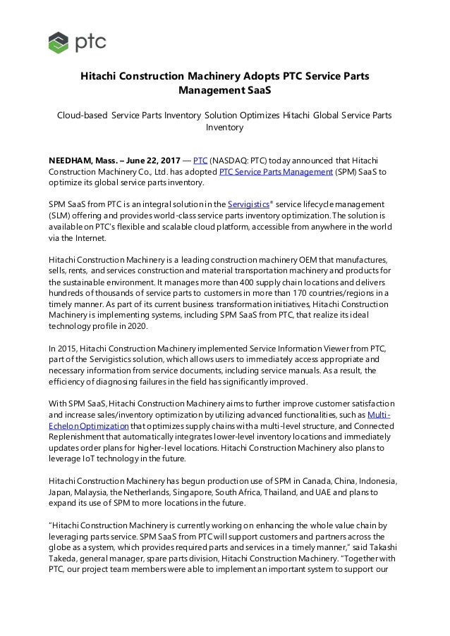 Hitachi Construction Machinery Adopts PTC Service Parts Management SaaS Cloud-based Service Parts Inventory Solution Optim...