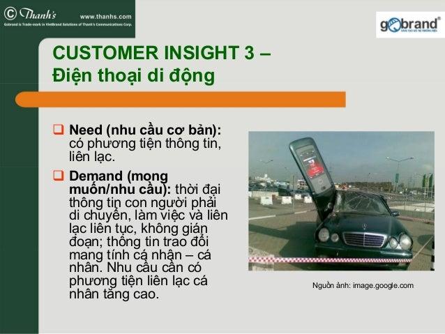 CUSTOMER INSIGHT 3 – Điện thoại di động Need (nhu cầu cơ bản): có phương tiện thông tin, liên lạc. Demand (mong muốn/nhu c...