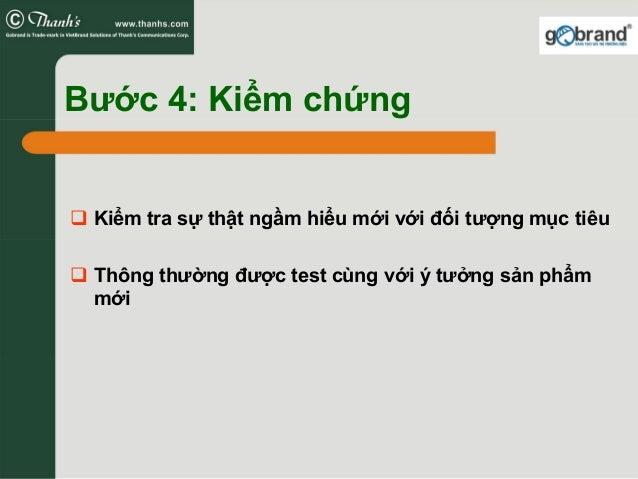 Bước 4: Kiểm chứng Kiểm tra sự thật ngầm hiểu mới với đối tượng mục tiêu Thông thường được test cùng với ý tưởng sản phẩm ...