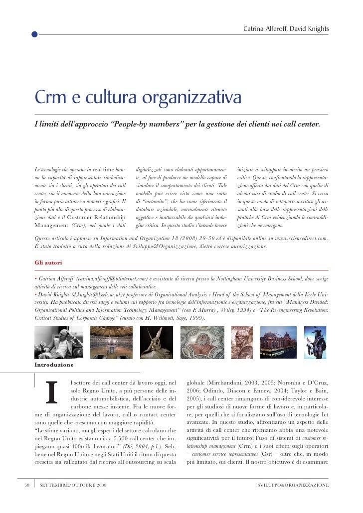 """Catrina Alferoff, David Knights          Crm e cultura organizzativa      I limiti dell'approccio """"People-by numbers"""" per ..."""