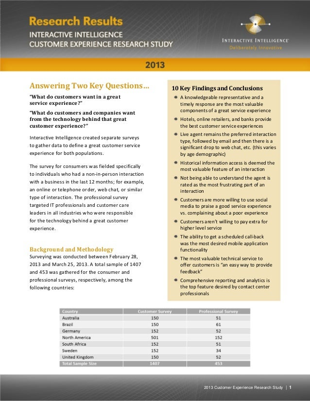 """2013 Customer Experience Research Study 