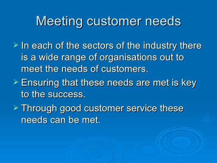 Meeting customer needs <ul><li>In each of the sectors of the industry there is a wide range of organisations out to meet t...