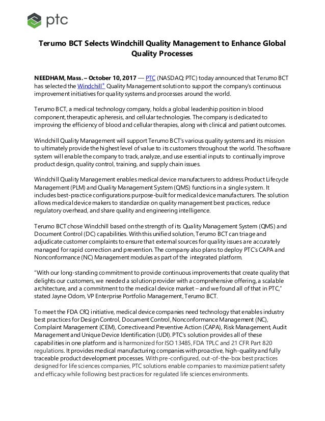 Terumo BCT Selects Windchill Quality Management to Enhance Global Quality Processes NEEDHAM, Mass. – October 10, 2017 –– P...