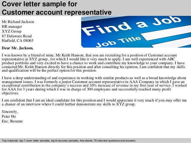 cover letter sample for customer account representative - Account Representative Cover Letter