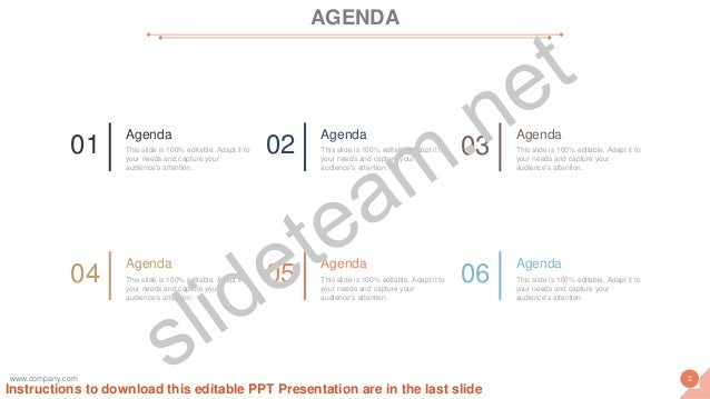AGENDA 01 Agenda This slide is 100% editable. Adapt it to your needs and capture your audience's attention. 02 Agenda This...