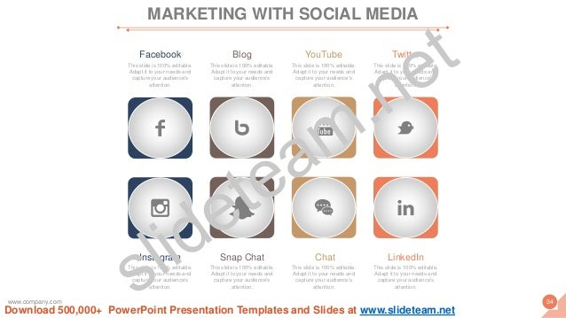 MARKETING WITH SOCIAL MEDIA Facebook This slide is 100% editable. Adapt it to your needs and capture your audience's atten...