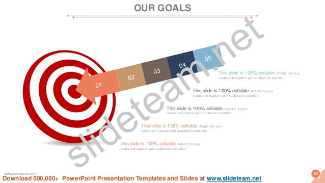 OUR GOALS www.company.com 52 This slide is 100% editable. Adapt it to your needs and capture your audience's attention. Th...