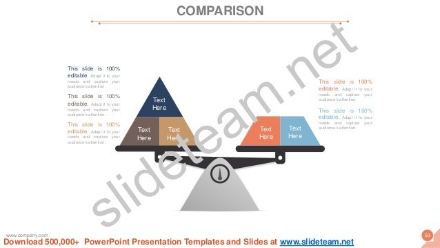 COMPARISON www.company.com 53 This slide is 100% editable. Adapt it to your needs and capture your audience's attention. T...