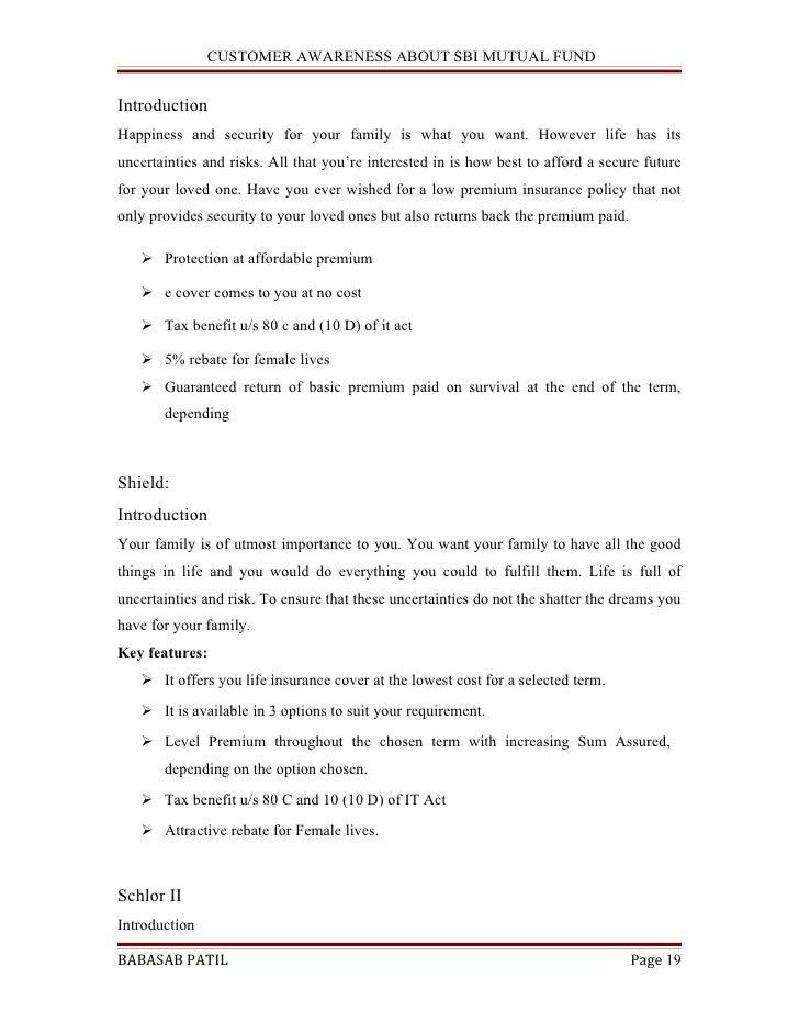 sbi mutual fund project report pdf