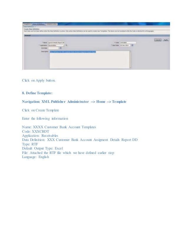 Customer Bank Account Assignment Detail Report