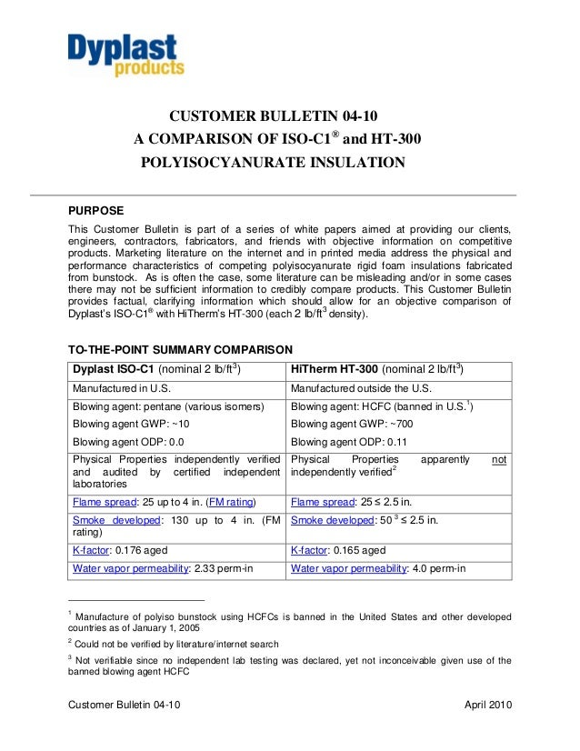CUSTOMER BULLETIN 04-10                  A COMPARISON OF ISO-C1® and HT-300                    POLYISOCYANURATE INSULATION...
