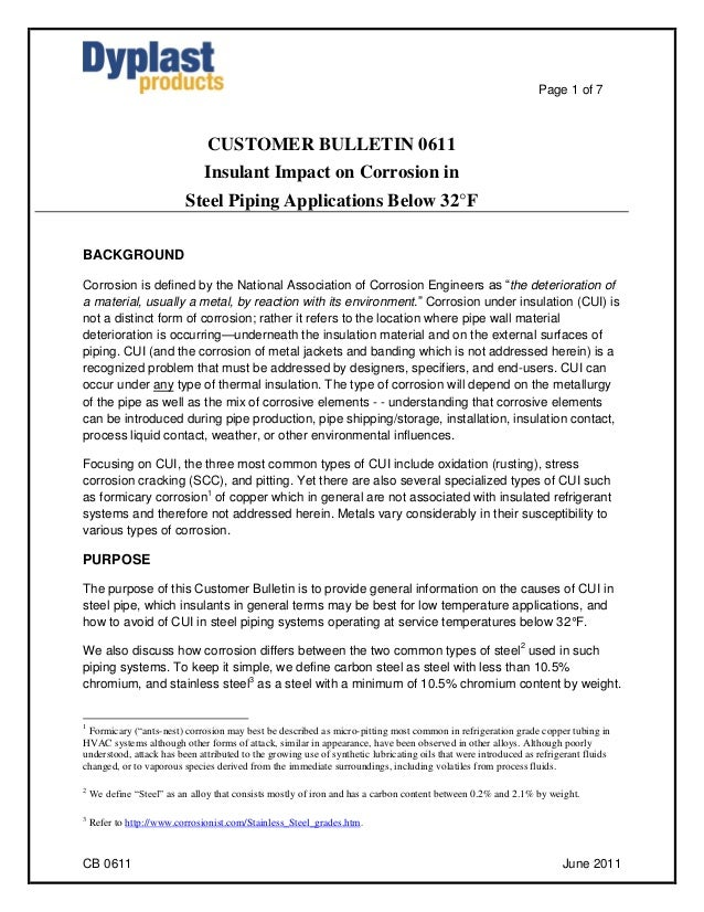 Page 1 of 7                                CUSTOMER BULLETIN 0611                               Insulant Impact on Corrosi...
