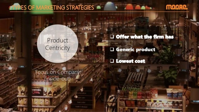 Source: marketing.wharton.upenn.edu Product Centricity TYPES OF MARKETING STRATEGIES  Generic product  Offer what the fi...