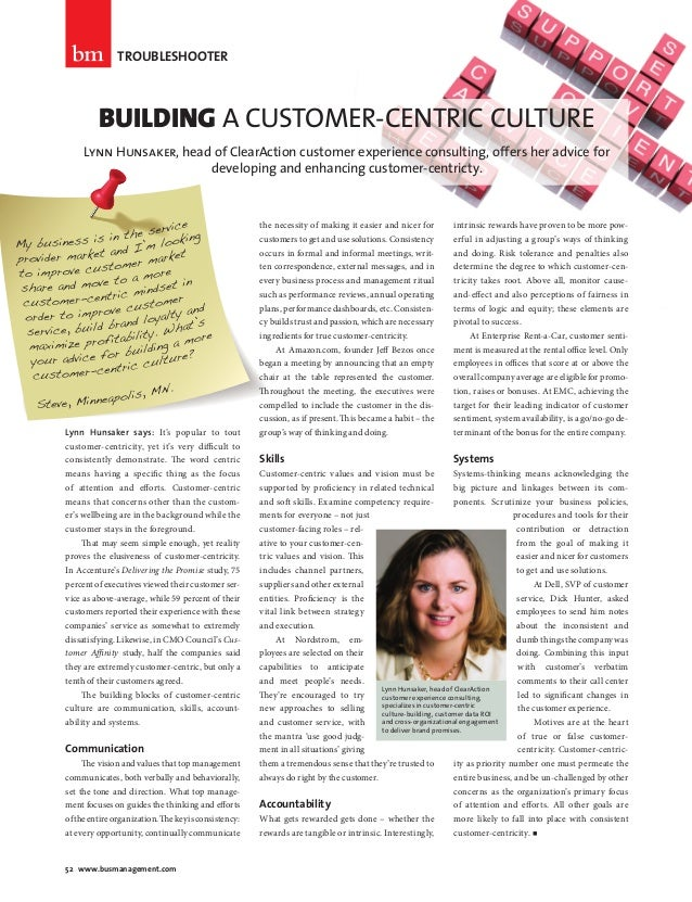 TROUBLESHOOTER                        BUILDING A CUSTOMER-CENTRIC CULTURE                      Lynn Hunsaker, head of Clea...