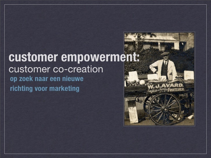 customer co creation Francis gouillart is president of the experience co-creation partnership, a management education and consulting firm in concord, massachusetts, and is co-author of the power of co-creation: build .